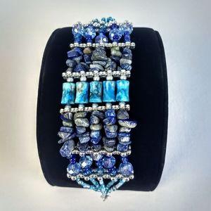 "Piece #381 ""Bashful Blue"" Handmade Cuff Bracelet"